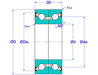 Duplex Pair Ball Screw Support Bearings with Contact Seals in Back-to-Back Arrangement (DB-2LR)