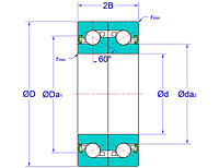 Duplex Pair Ball Screw Support Bearings with Non-Contact Seals in Face-to-Face Arrangement (DF-2NK)